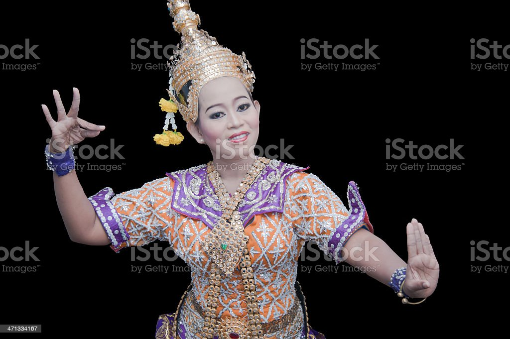 Thai woman dancer and black background royalty-free stock photo