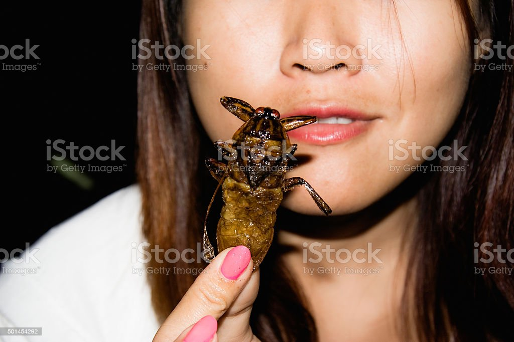 Thai woman eating cooked cockroach stock photo