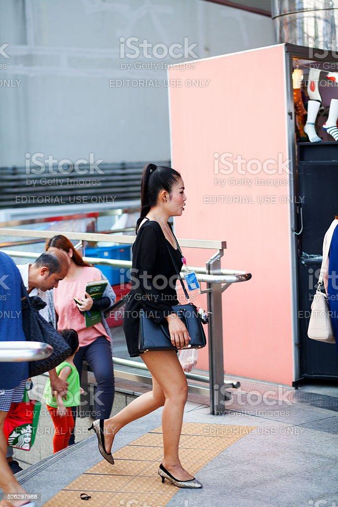 Thai woman in black dress stock photo