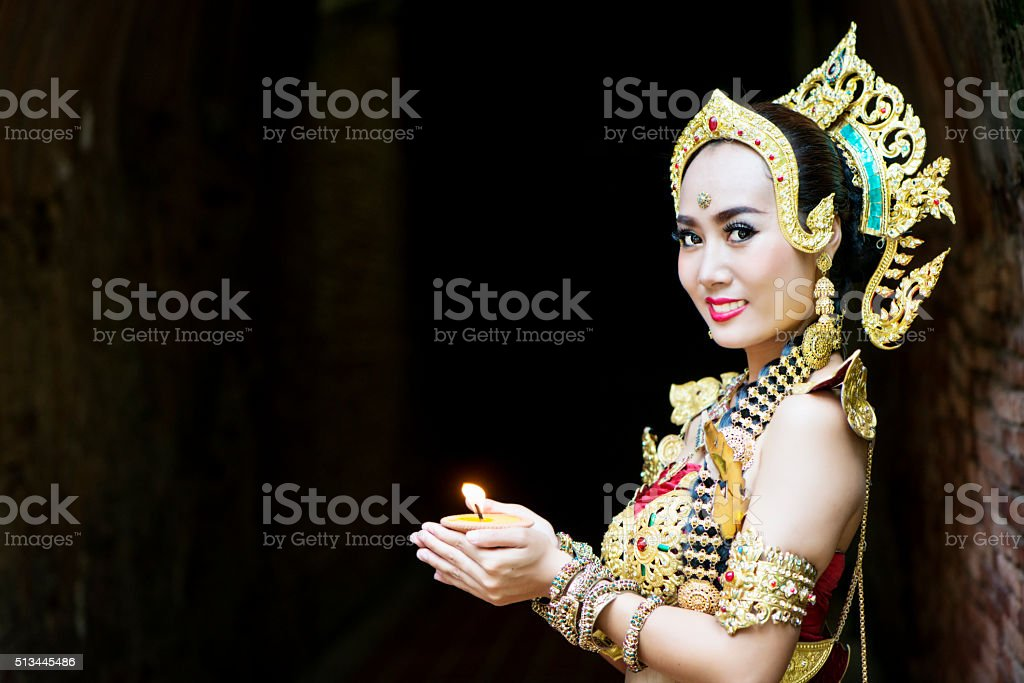 Thai Woman in Traditional Costume stock photo