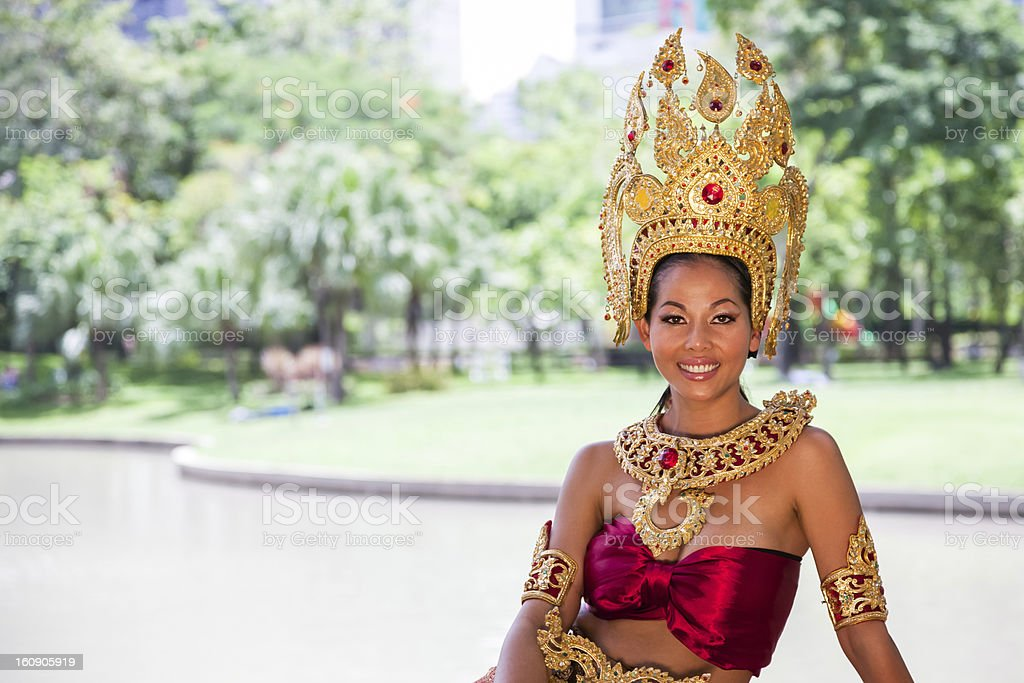 Thai woman in traditional dress stock photo