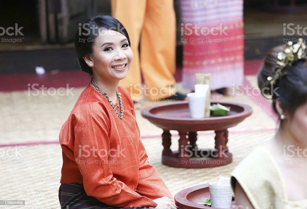 Thai woman in traditional northern costume royalty-free stock photo