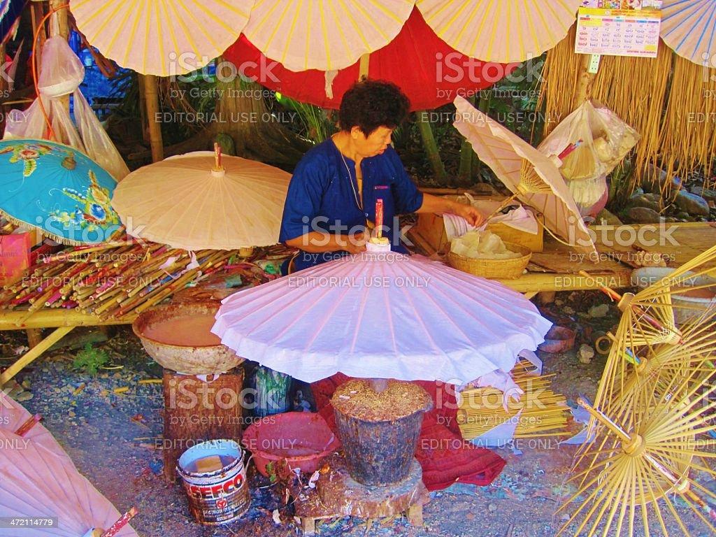 Thai Woman Making Sun Umbrellas stock photo
