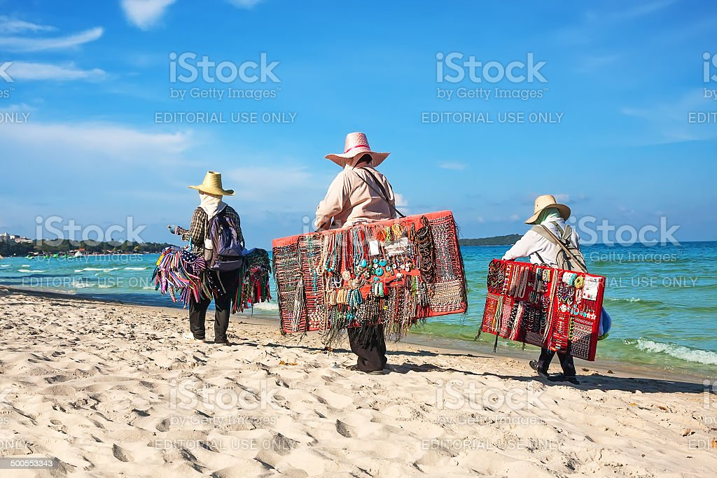 Thai woman selling beachwear at beach in Koh Samui, Thailand. royalty-free stock photo
