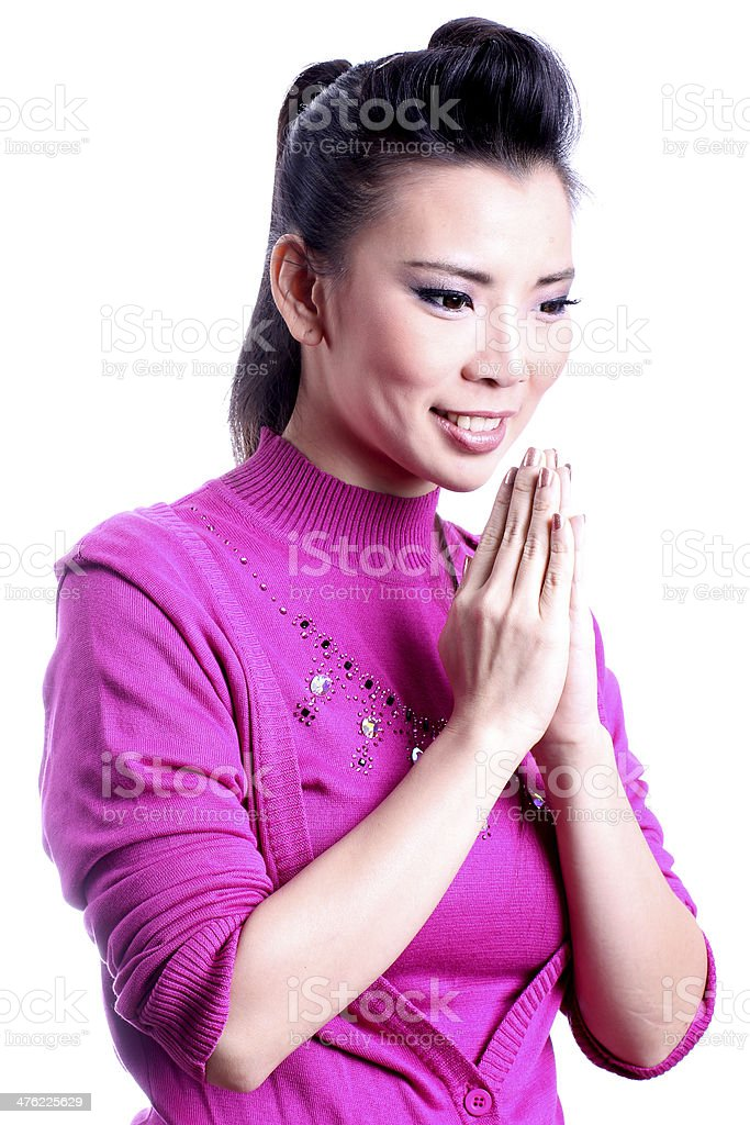 Thai woman welcome expression Sawasdee. royalty-free stock photo