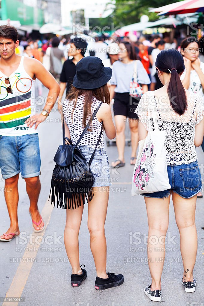 Thai women on Chatuchak weekend market stock photo