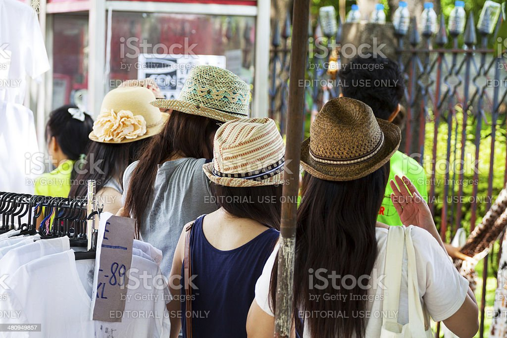 Thai women with straw hats royalty-free stock photo