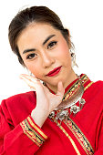 Thai women with traditional Thai lanna suit isolate white