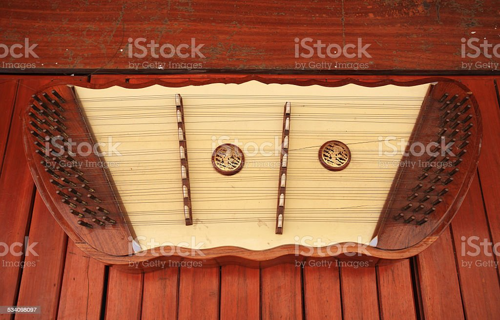 Thai wooden dulcimer musical instrument stock photo