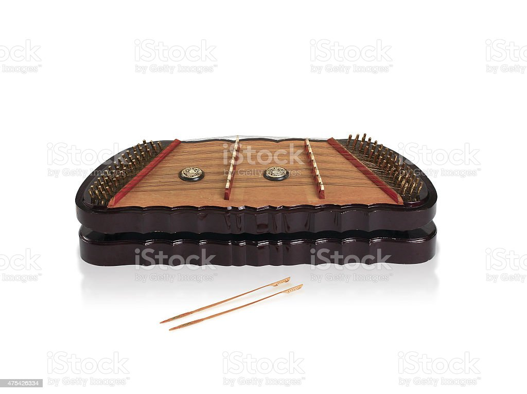 Thai wooden dulcimer musics instrument stock photo