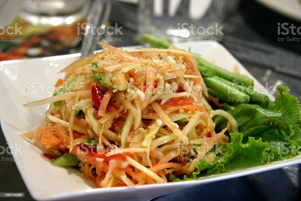 Thai young papaya salad royalty-free stock photo
