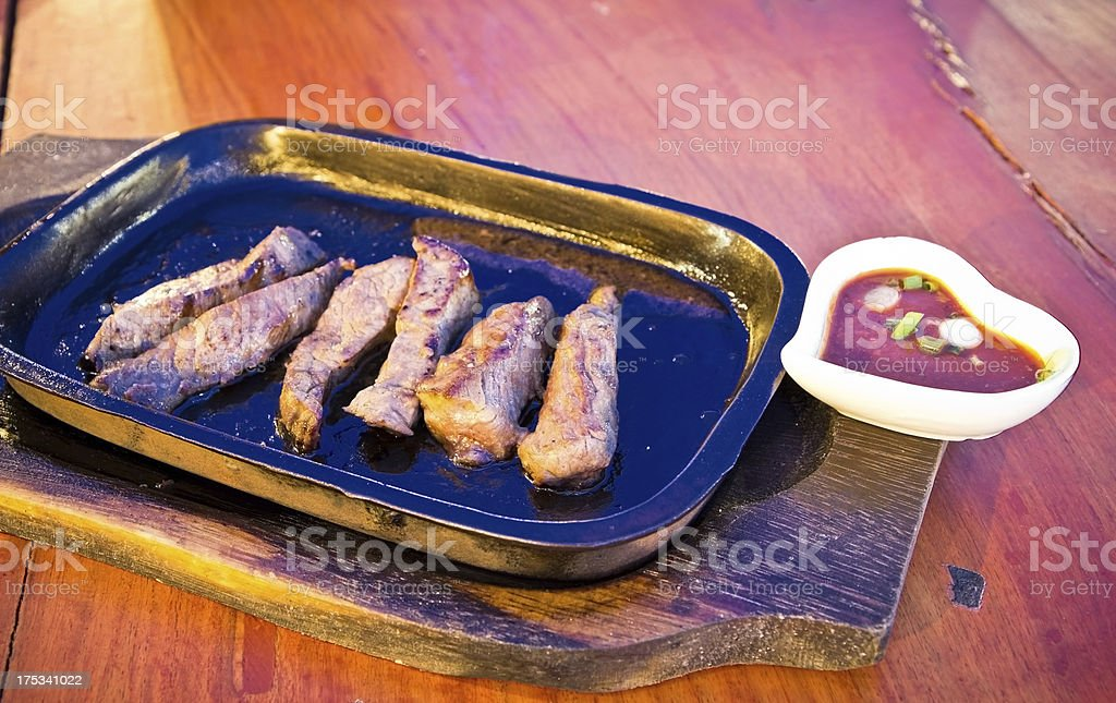 thai-french beef in hot pan royalty-free stock photo