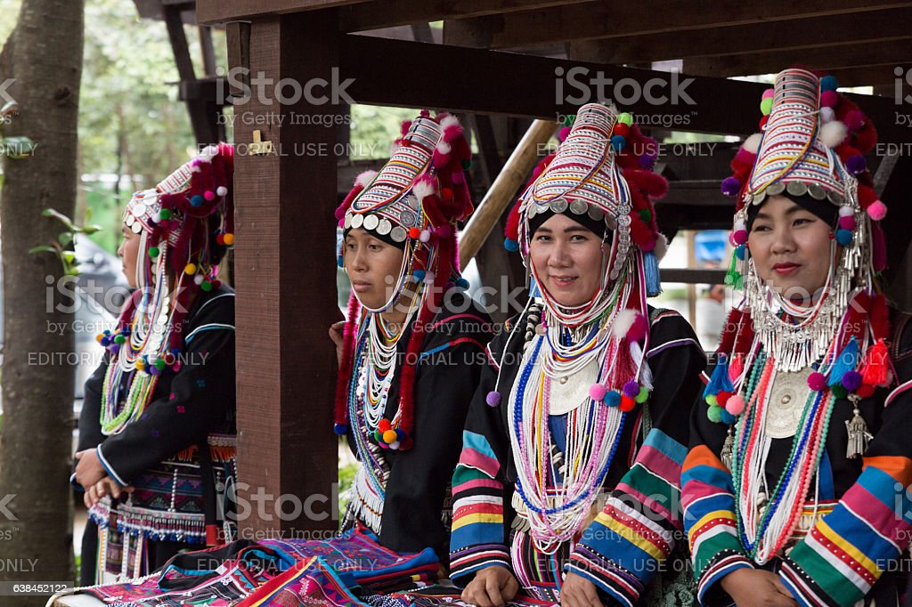 Thailand akha hill tribe waiting to perform traditional stock photo