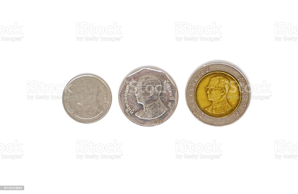 Thailand baht coins isolated over white background stock photo