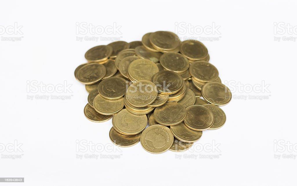 Таиландский бат золотые монеты на белом фоне Стоковые фото Стоковая фотография