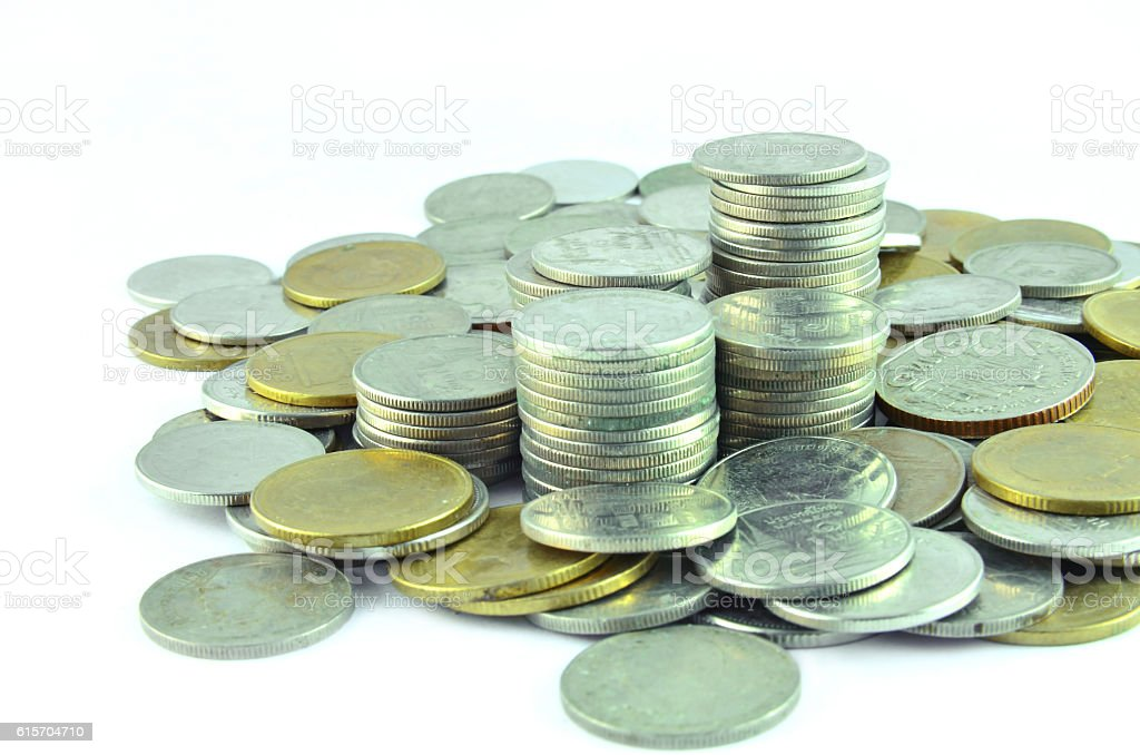 Thailand Baht lot of money a white background. stock photo
