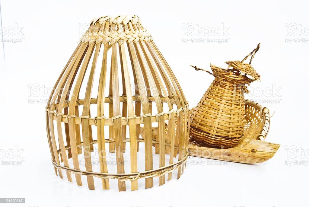 Thailand bamboo fishing trap stock photo