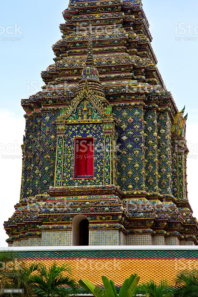 thailand  bangkok in    temple abstract cross plant stock photo