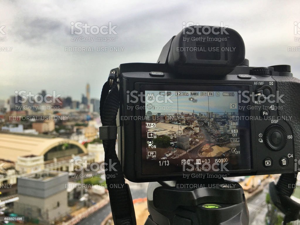Thailand, Bangkok- May-2017: Sony A7 series fullframe mirorrless camera on the tripod for cityscape shooting stock photo