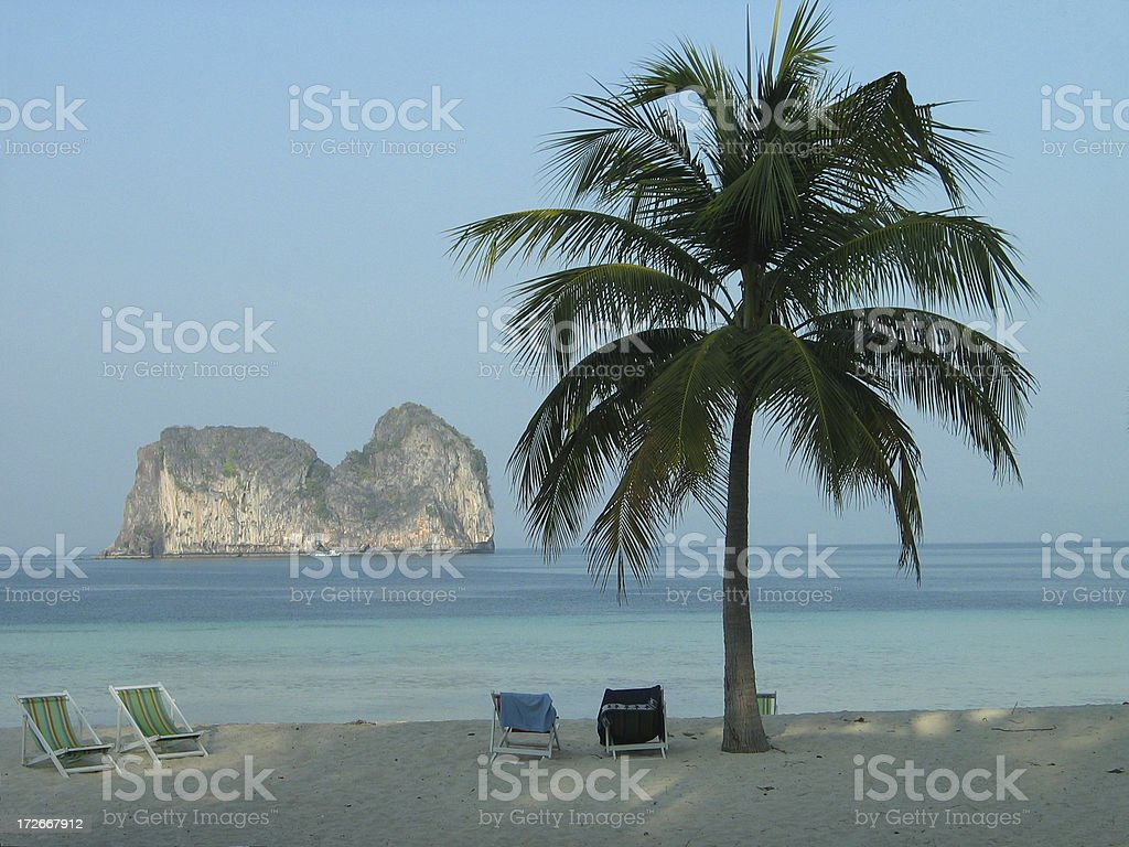 Thailand Beach Chairs royalty-free stock photo