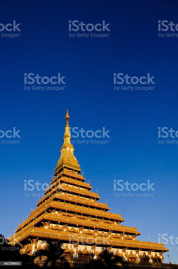 Thailand Bhudda temple golden Stupa Khonkaen landmark stock photo