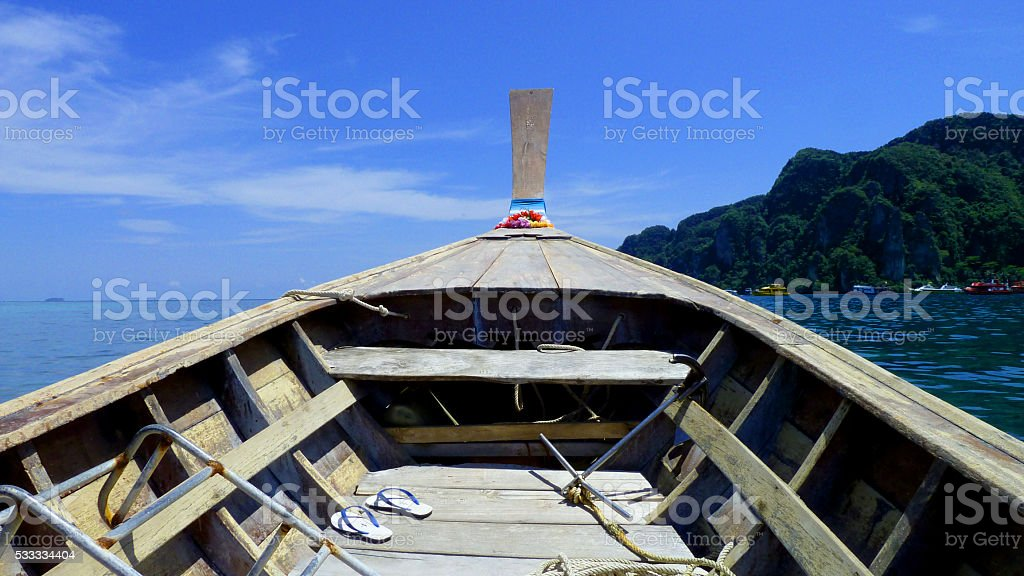 Thailand Boat Ocean Water Island Blue Clear Water stock photo