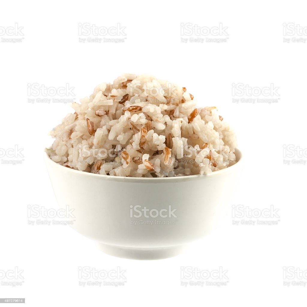 Thailand brown rice on white background stock photo