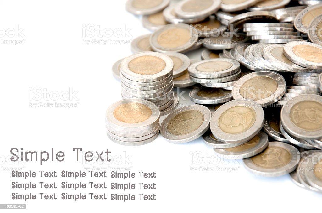 Thailand coins : money stock Thai bath stock photo