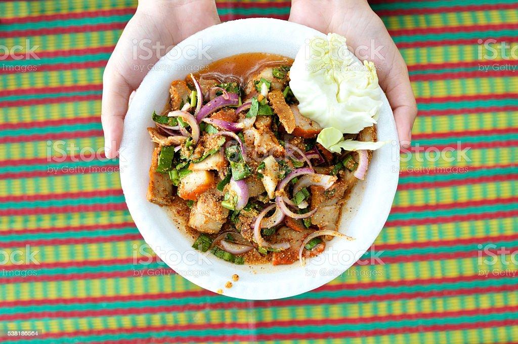 Thailand cuisine spicy pork salad, Moo Nam Tok. stock photo