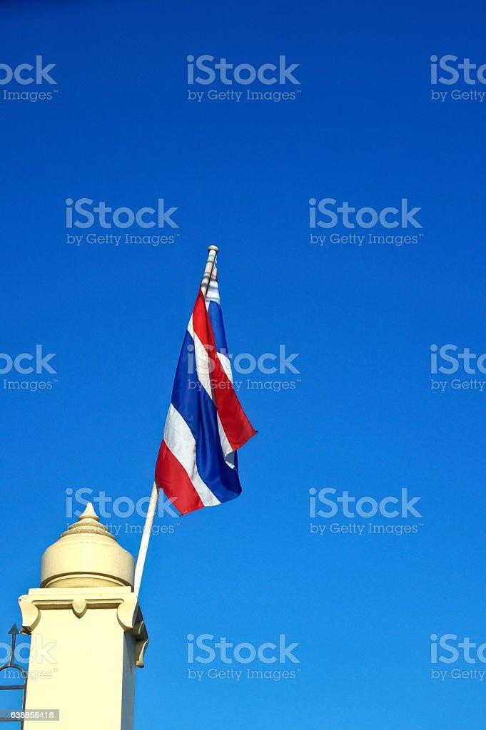 Thailand flag with nice sky on flagstaff stock photo