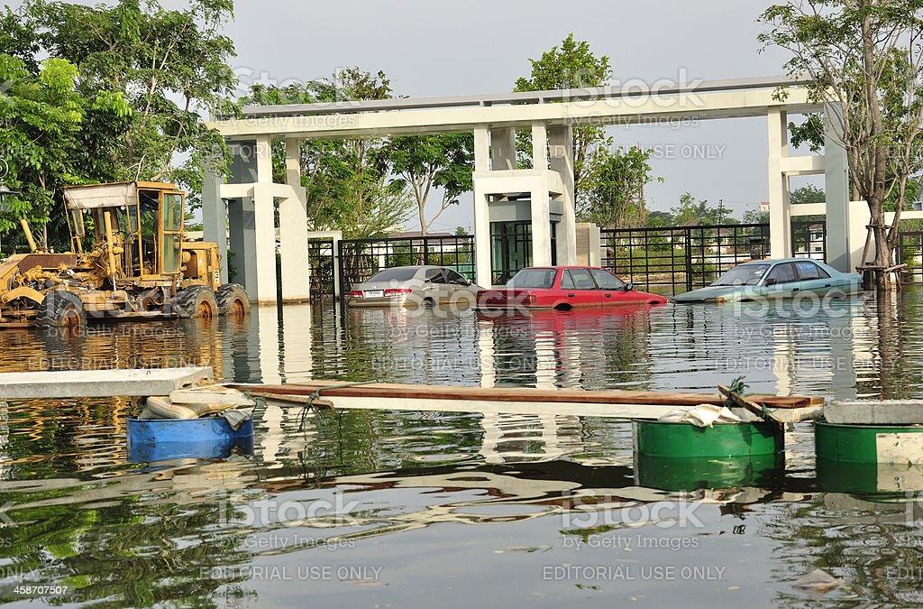 Thailand flooded vehicles royalty-free stock photo