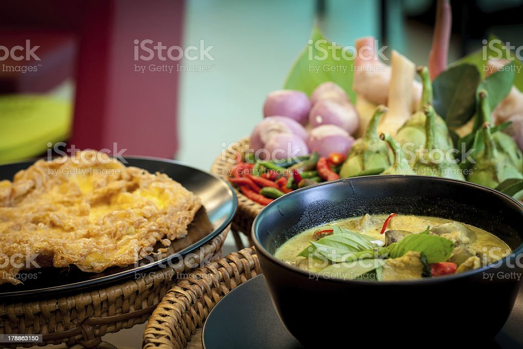 Thailand food Green curry Chicken Intense soup royalty-free stock photo