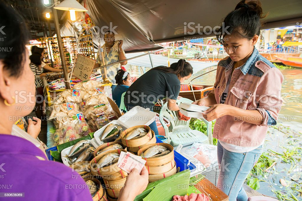 Thailand Fresh Fish Sold at Floating Market stock photo