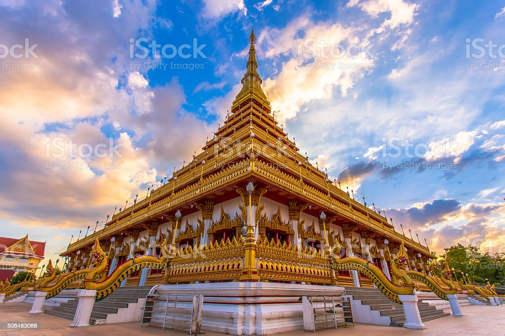 Thailand Golden temple Thai Buddha building, Khonkaen Thailand Cities view stock photo