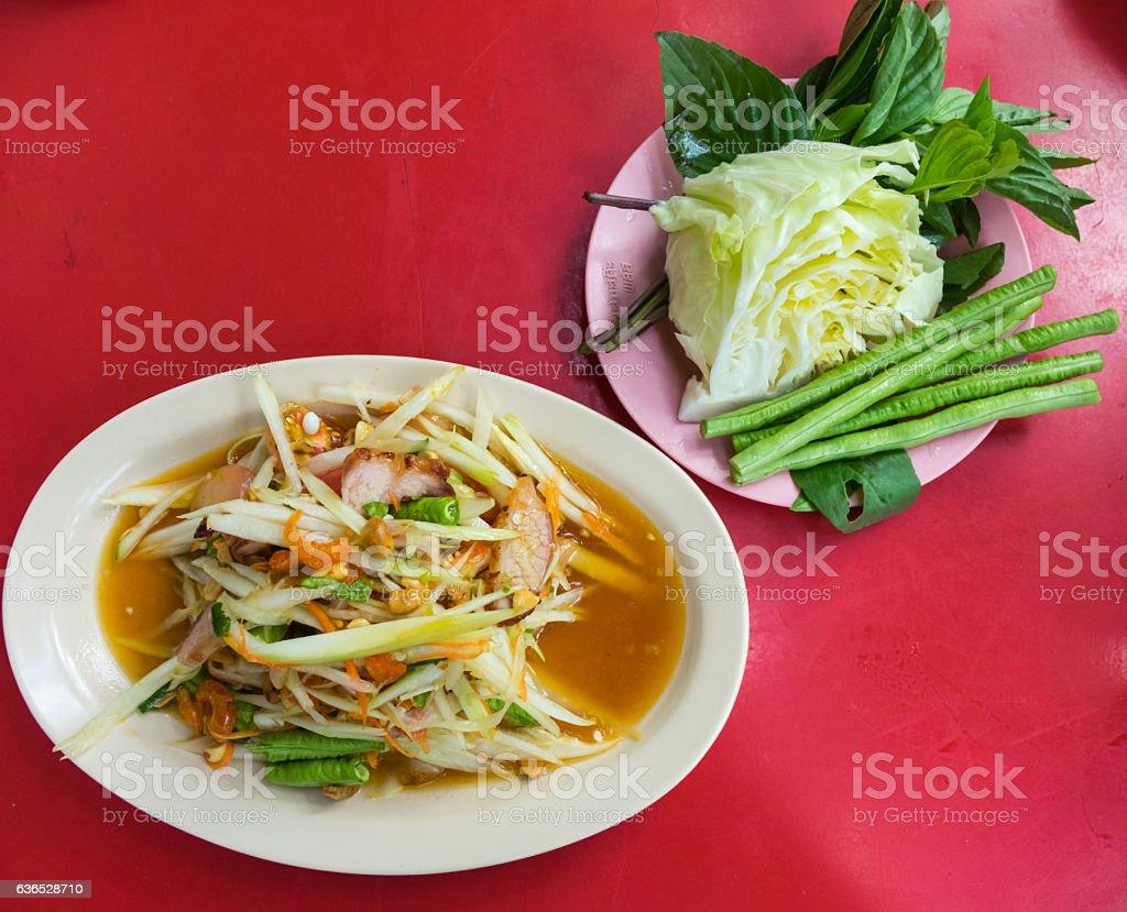 Thailand Green Papaya Salad, spicy stock photo