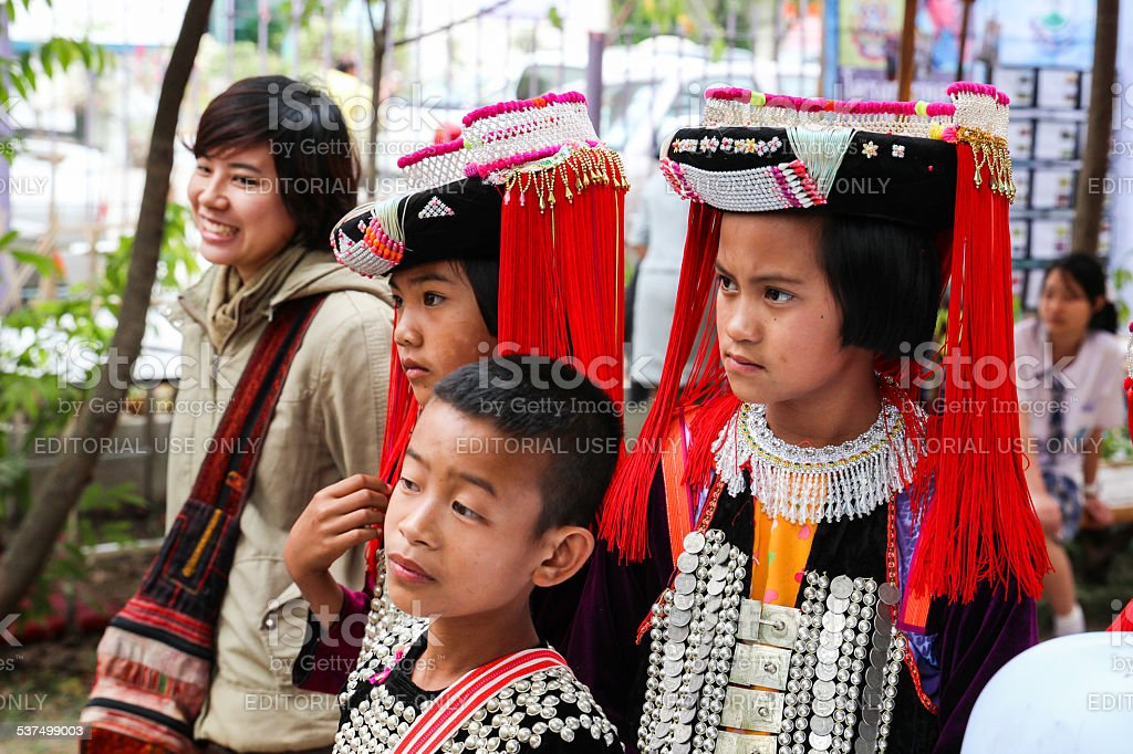 thailand hill tribe girl and boy with traditional costume stock photo