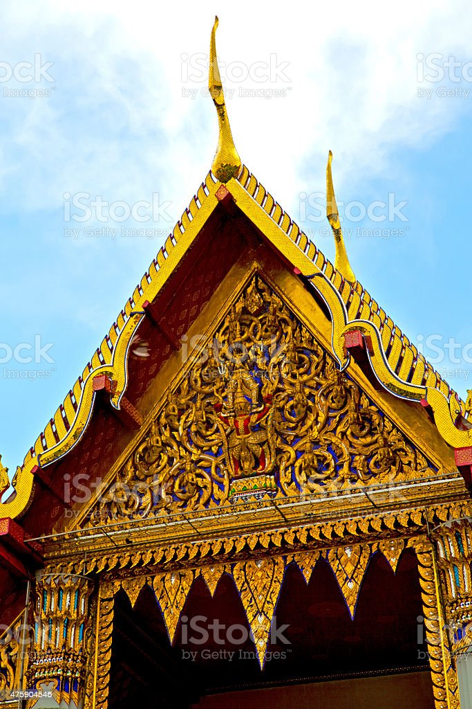 thailand  in  bangkok    wat  palaces   asia sky    and  colors stock photo