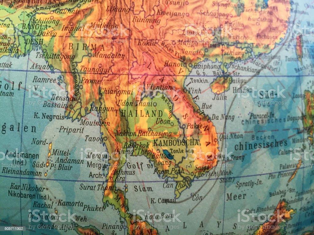 Thailand / Indochina - Alter Globus / Weltkarte stock photo