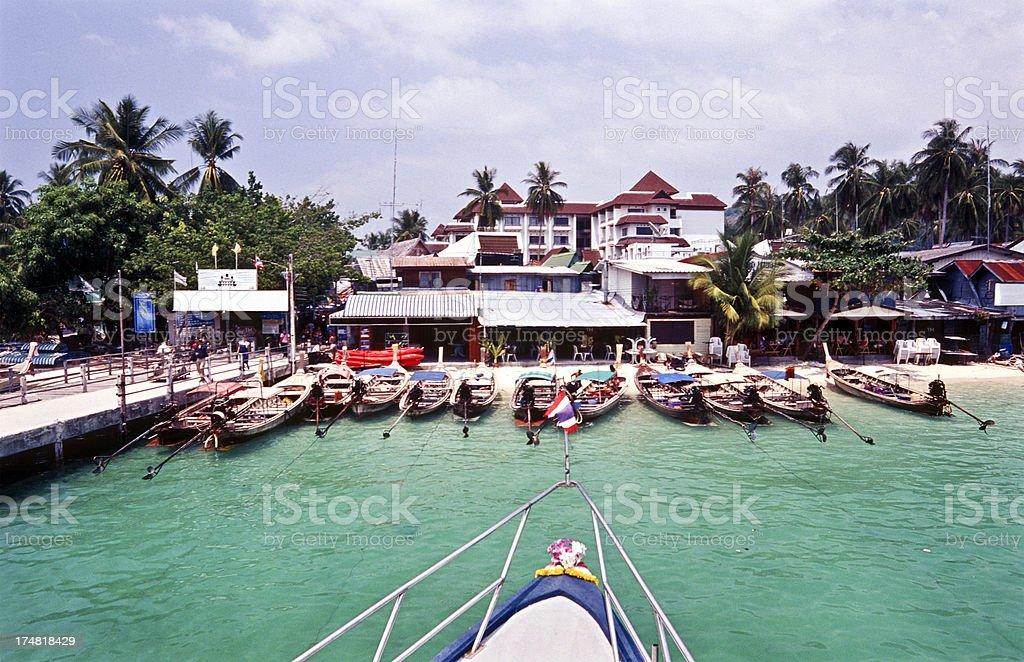 Thailand, Krabi Province, Ko PhiPhi, longtail boats. royalty-free stock photo