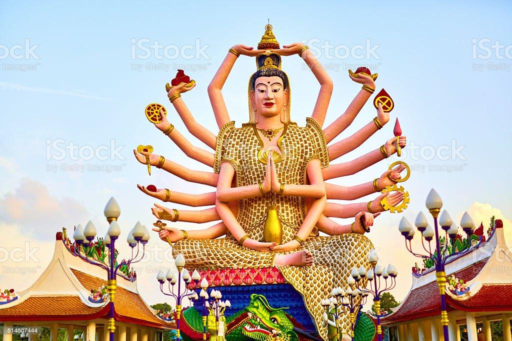 Thailand Landmark. Guan Yin Statue At Big Buddha Temple. Buddhist stock photo