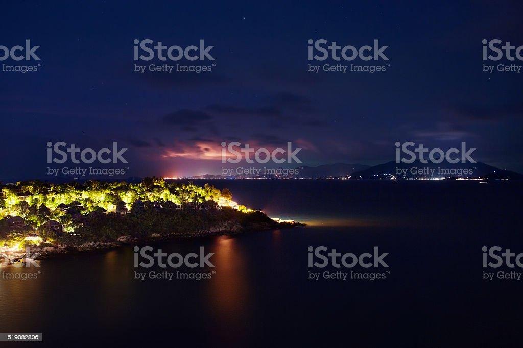 Thailand Landscape. Island At Night, Beach Lights. Nightlife, Night stock photo