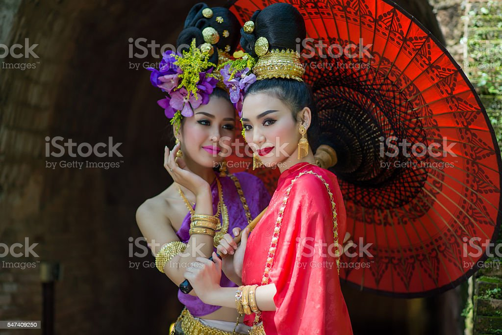 Thailand Lanna women dress .Thai woman dressing traditional. stock photo