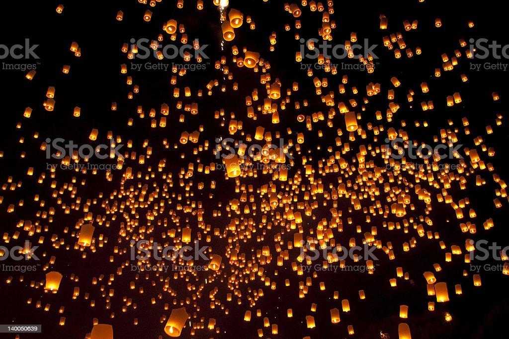 Tajlandia, Loi Krathong i Yi Peng Święto Prowincja Chiang Mai zbiór zdjęć royalty-free