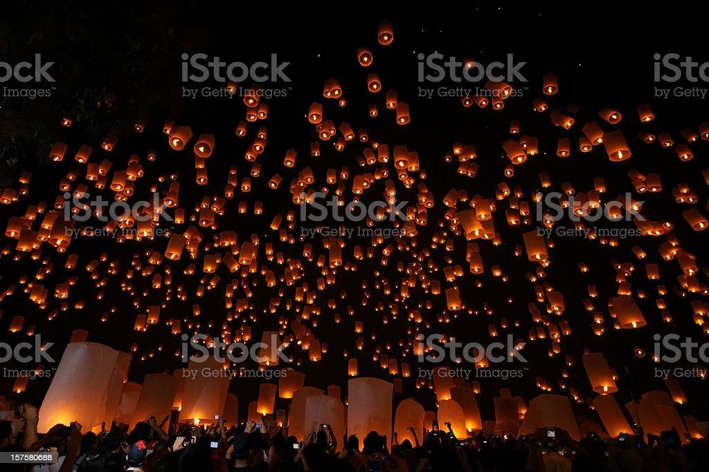 Thailand, Loi Krathong and Yi Peng Festival Chiang Mai Province stock photo