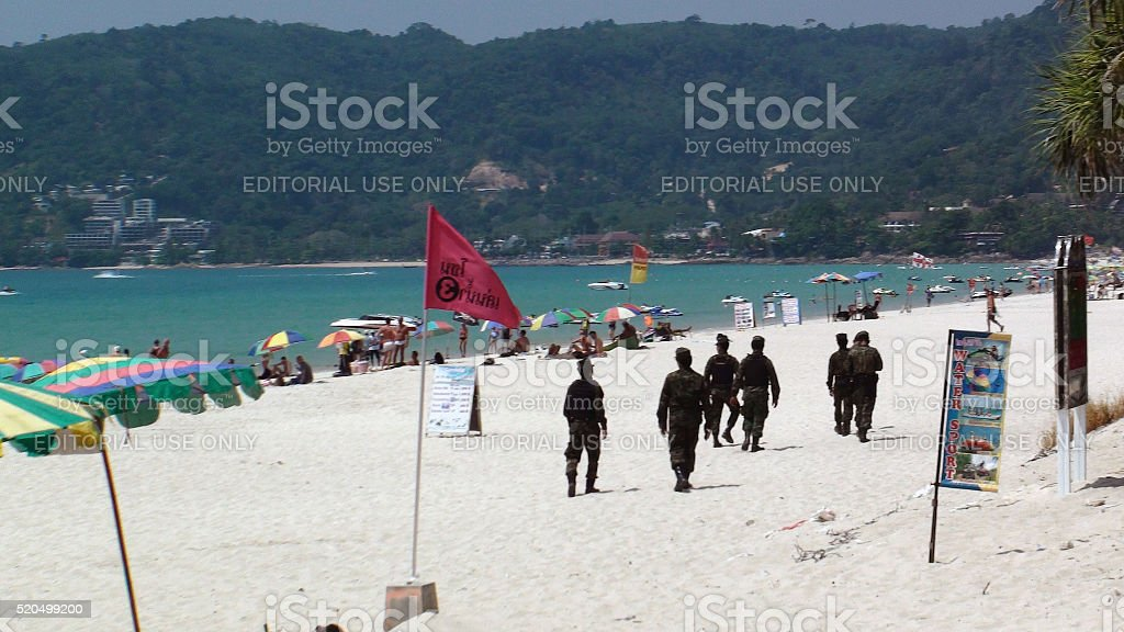Thailand Military Personnels Presence At Patong Beach Phuket stock photo