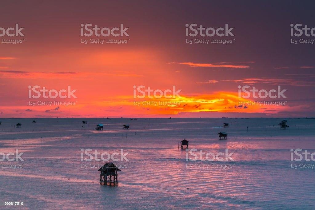 Thailand nature landscape. background with sea house Gulf of Thailand, Phetchaburi stock photo