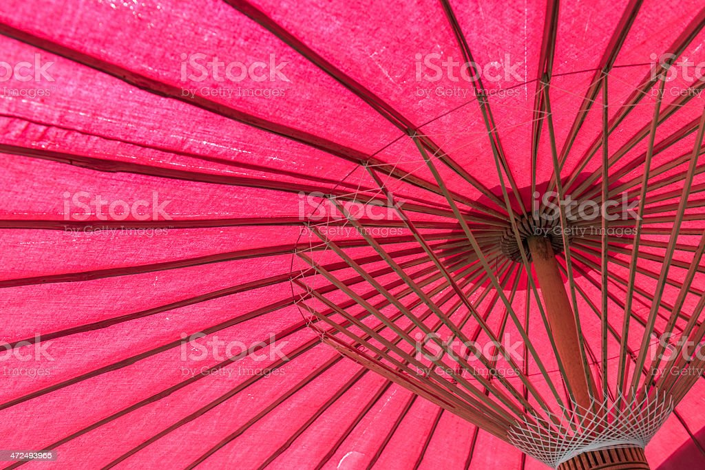 Thailand Northern Style red umbrella background. stock photo