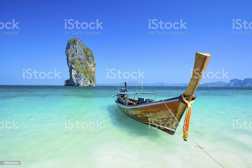 Thailand ocean landscape with traditional boat Taxi stock photo