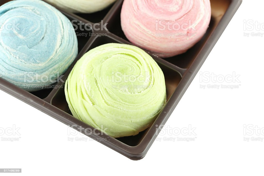 Thailand of Colorful Mochi Sweets in black box of isolated. stock photo