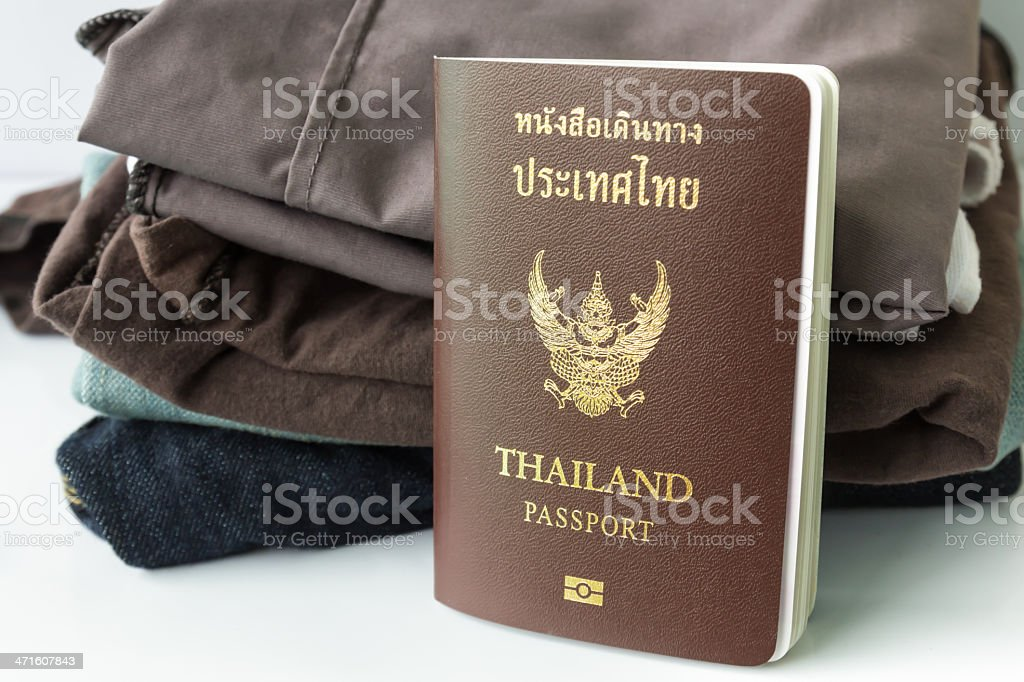 Thailand Passport and clothes royalty-free stock photo